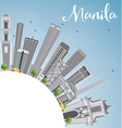 Manila Skyline with Gray Buildings and Blue Sky vector image