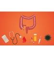 colon health with medicine and health care symbol vector image