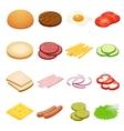 Burger isometric Burger ingredients on white vector image