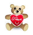 cute bear with red heart vector image