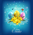 easter background with eggs and crocus vector image
