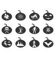 halloween lantern icons set vector image