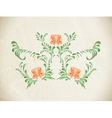 Hand drawn orange vintage floral ornament vector image