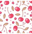 hand drawn seamless pattern with cherry vector image