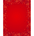 valentine red background with frame of hearts vector image