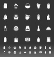 Variety food package icons on gray background vector image