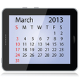march 2013 calendar vector image vector image