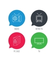 TV PC case and retro radio icons vector image