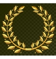 Golden laurel wreath on dark transparent vector image