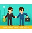 Meeting of money and ideas Two businessmen vector image