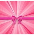 Romantic pink background with cute bow and vector image