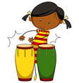 Little girl playing drums vector image