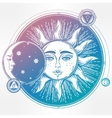 Vintage hand drawn sun eclipse with planets vector image