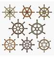 Ship Helm Icons Set vector image