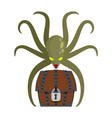 octopus and treasures poulpe and chest of pirate vector image