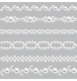 Pearl realistic seamless borders set vector image