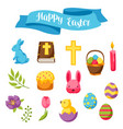 happy easter set of decorative objects eggs and vector image