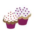 sweet dessert in flat design cupcakes vector image