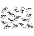 Black lizards reptiles for tattoo design vector image
