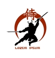 Oriental martial arts Samurai fight club logo vector image