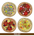 set of four pizzas vector image vector image