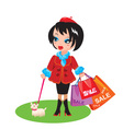 Funny Girl with dog go shopping in sale time vector image