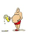 beer belly man a glass in his hand vector image vector image