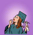 girl graduate thought the student of college and vector image