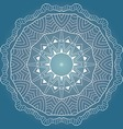 White round lace pattern on blue background vector image