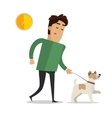 Tired Man in Casual Clothes Walking with his Dog vector image