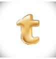 metallic gold t balloons golden letter new year vector image