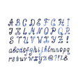 Blue watercolor alphabet Hand drawn artistic font vector image