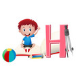 boy and letter h on the book vector image
