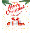 christmas greeting card with gift box and red vector image