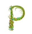 Letter P floral latin decorative character vector image