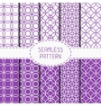Set of purple geometric seamless pattern with vector image