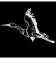 Hand-drawn pencil graphics bird stork swan duck vector image