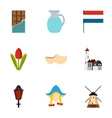 Country Holland icons set flat style vector image
