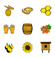 bee garden icons set cartoon style vector image vector image