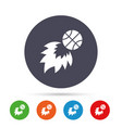 basketball fireball sign icon sport symbol vector image
