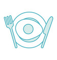 cutlery kitchen with egg fried vector image vector image
