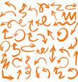 Orange Hand Drawn Arrows Set vector image vector image