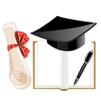 Notebook and roll on white background vector image vector image