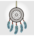Boho dream catcher with feathers Indian symbol in vector image