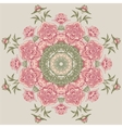 circle floral pattern with peonies vector image