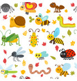 cute cartoon seamless pattern with insects and vector image