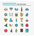 Jewish Hanukkah Colorful Flat Line Icons Set vector image