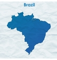 Map of Brazil Silhouette on crumpled paper vector image