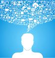 Social media communication man vector image