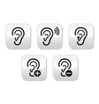 Ear hearing aid deaf problem buttons set vector image